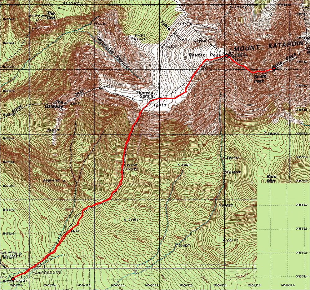 Abol Trail - Annotated Topographic Map - Maine Mountain ...