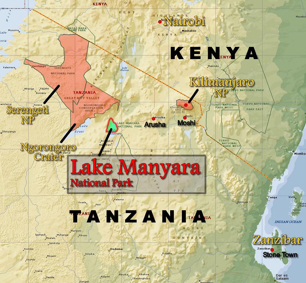 Lake Manyara Np Locator Map Kilimanjaro And East Africa Animals