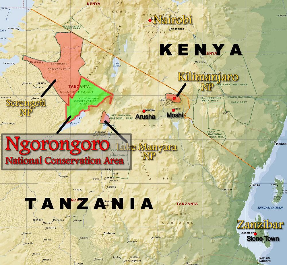 Ngorongoro Conservation Area Locator Map   Kilimanjaro and East