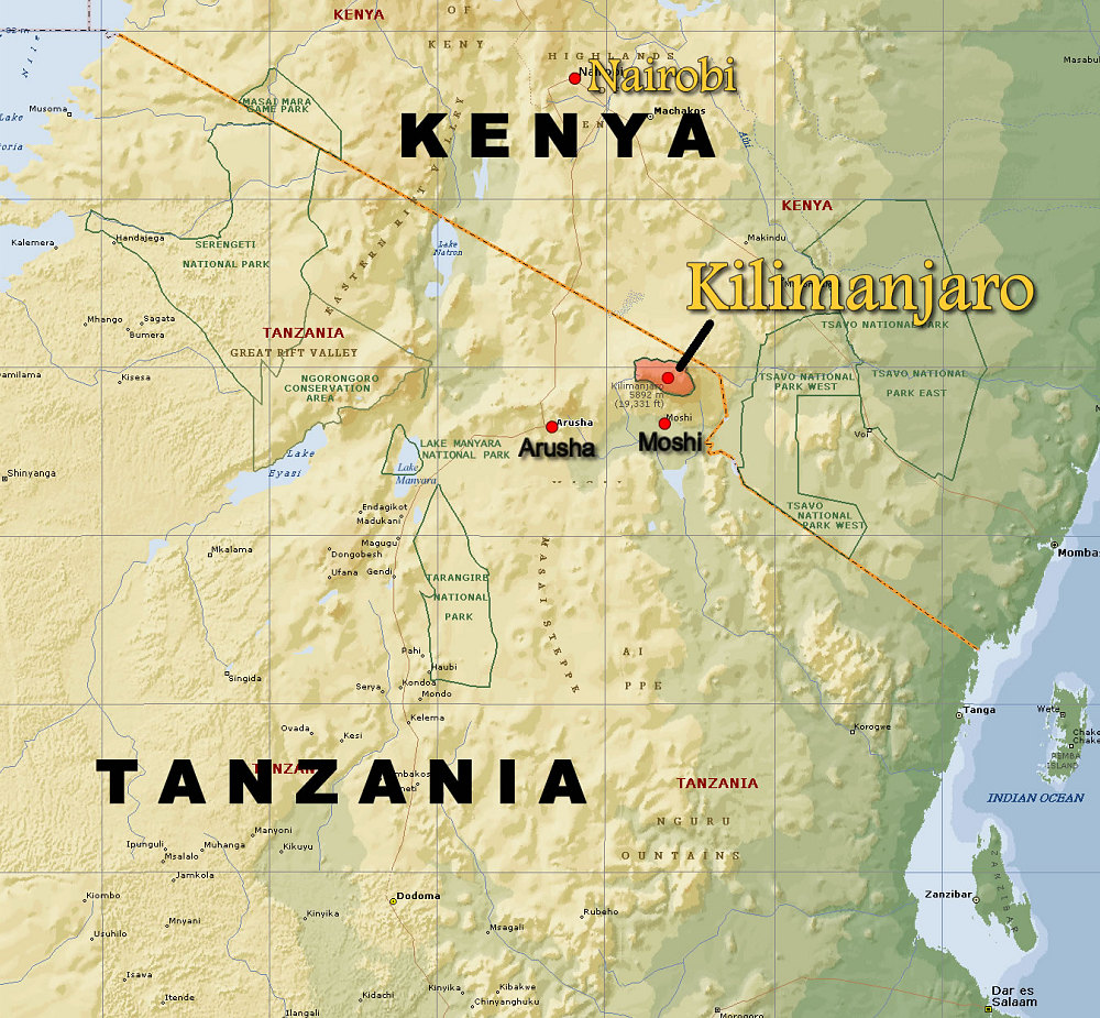 Kilimanjaro Map | compressportnederland