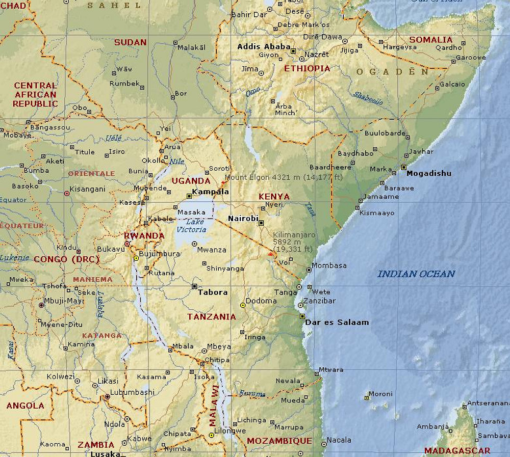 east africa maps and views
